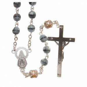 STOCK Glass & crystal rosary variegated blue 6mm s2