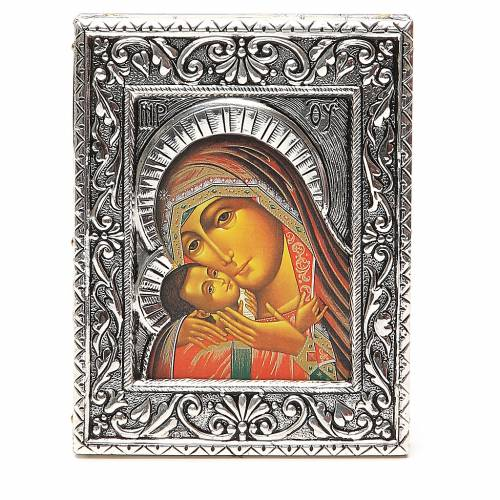 STOCK Icon Korsun Madonna silver 925 foil 12x9,5cm s1