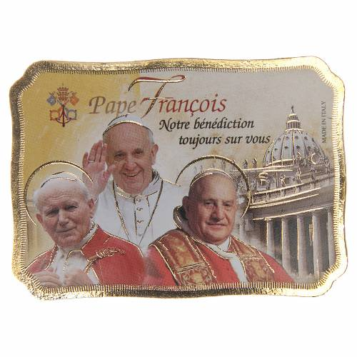 STOCK Magnet 3 Popes wooden parchment 8x5,5cm FRENCH s1