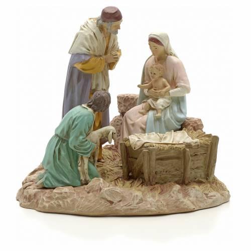 STOCK Scène Sainte Famille avec pasteur et agneau 16 cm résine s1
