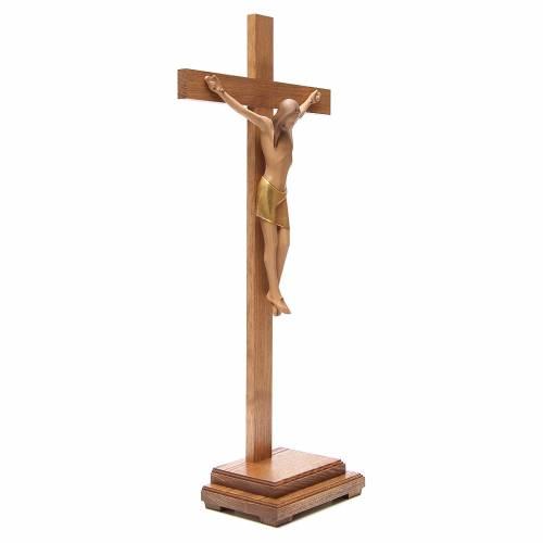 Stylised crucifix with base in Valgardena wood s4