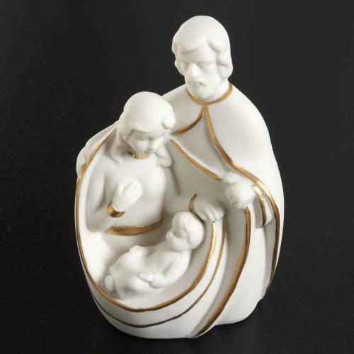Stylized Nativity, white and golden ceramic s2