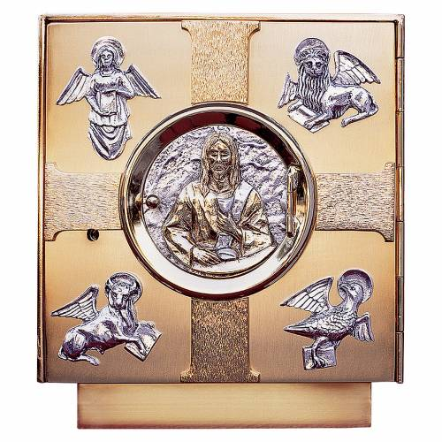 Tabernacle d'autel laiton moulé symboles Évangélistes s1