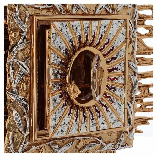 Tabernacolo da parete ottone fuso oro argento JHS s8