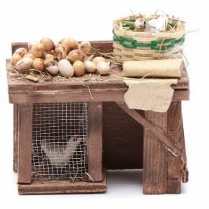 Table avec cage poule oeufs 9x8x5,5 cm crèche napolitaine s1