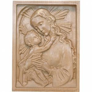 Tableau en relief Vierge et Enfant patiné Val Gardena s1