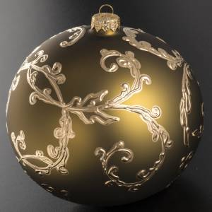 Tannenbaumkugel grünem Glas goldenen Dekorationen, 15cm s2