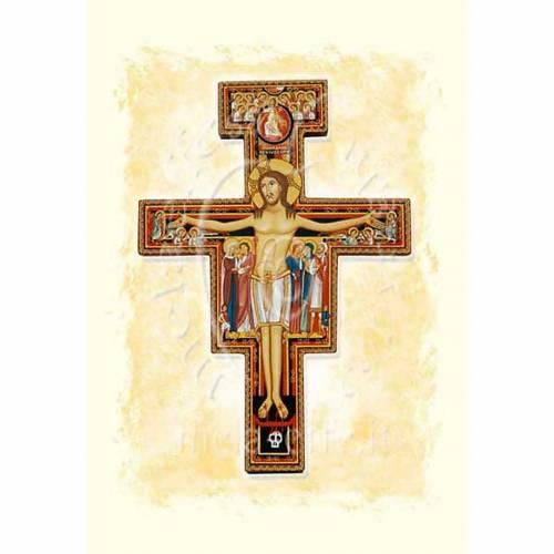 Tarjeta de felicitación crucifijo San Damián perga s1