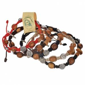 Bracelets, peace chaplets, one-decade rosaries: Tau cross bracelet with medals