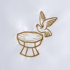 Taufkleidungen und Taufkerzen: Taufkleid aus Satin, Taube