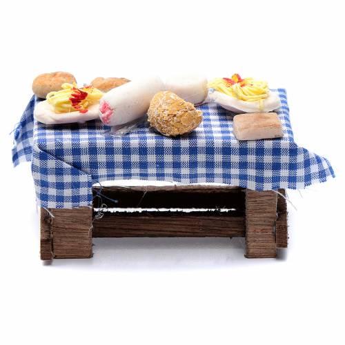 Tavolo con forme di cibo presepe napoletano 5x10x5 cm s1