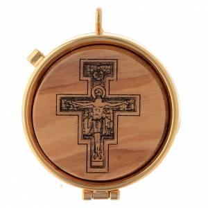 Teca eucaristica olivo Crocifisso San Damiano diam. 5 cm s1