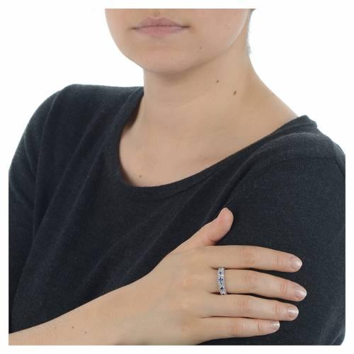 Ten-Beads AMEN rhodium-plated silver 925, blue zircons s3