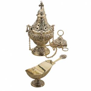 Thurible and boat by Molina, golden brass s1