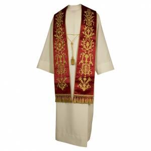 Étoles liturgiques: Étole brodée main avec décors couleur or plantes pure soie