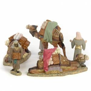 Tre Re Magi a cammello 12 cm pasta di legno dec. fine s2