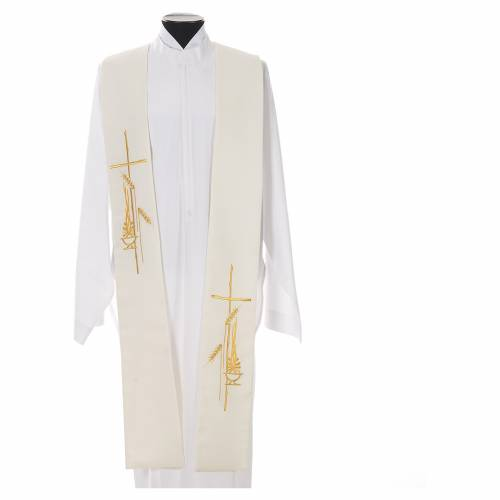 Tristole in polyester with cross, lamp and ear of wheat symbols s5