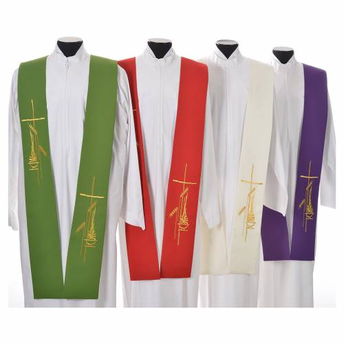 Tristole in polyester with cross, lamp and ear of wheat symbols s1