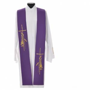 Tristole in polyester with cross, lamp and ear of wheat symbols s3