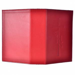 Étui liturgie heures 4 vol. cuir rouge impression sur côté s2