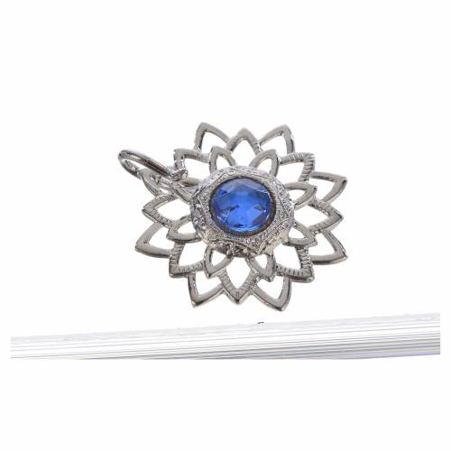 Tunic clasp, silver-plated with blue stones s2