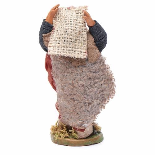 Uomo con sacco di juta 10 cm presepe napoletano s4
