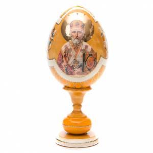 Uovo découpage russa San Nicola tot h 20 cm stile Fabergè s1