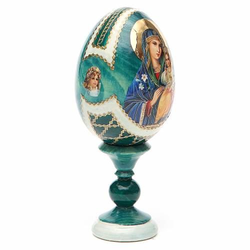Uovo icona découpage Giglio Bianco h tot. 13 cm stile Fabergé s4