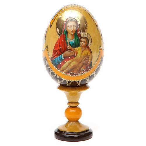 Uovo legno découpage Russia Kozelshanskaya h tot. 13 cm stile Fabergé s1