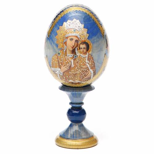 Uovo legno découpage Russia Premonitrice h tot. 13 cm stile Fabergé s1