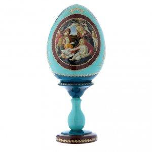Uovo russo stile Fabergé blu La Madonna della Magnificat h tot 20 cm s1