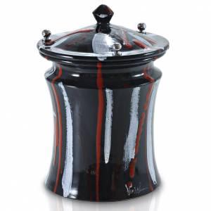 Urne funéraire céramique noire et taches couleur s1