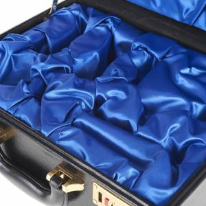 Valigia per celebrazioni vuota interno raso blu s2