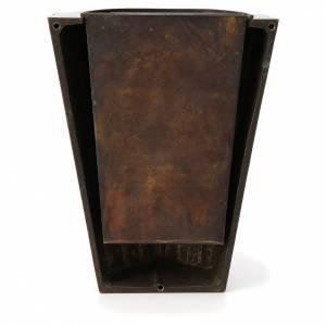 Vaso fiori cimitero ottone bronzato righe dritte s3