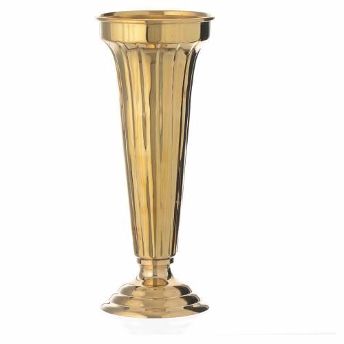 Vaso fiori ottone cesellato a mano 26 cm s1