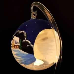 Vaso porta vela de Navidad pintado a mano pueblito con  nieve s7