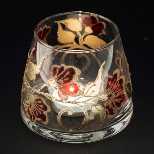 Vaso Porta vela de navidad, vidrio rojo y dorado s4