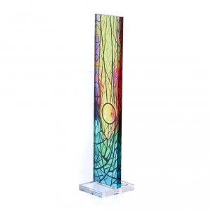 Vetratina di Natale colorata Sole nascente 18X3,8 cm s2