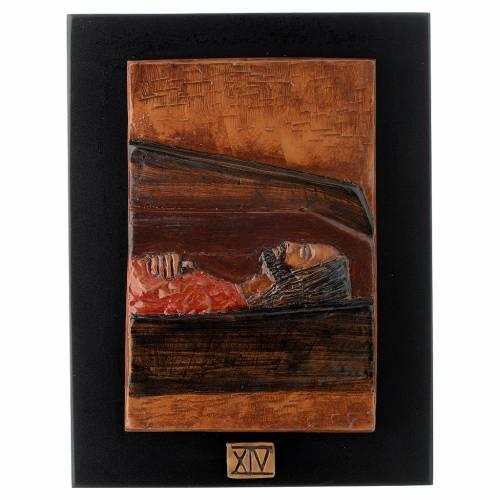 Vía Crucis 14 estaciones mayólica cuero sobre madera s14