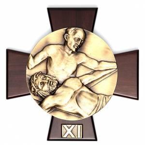 Via Crucis 14 stazioni ottone fuso su placca legno s11