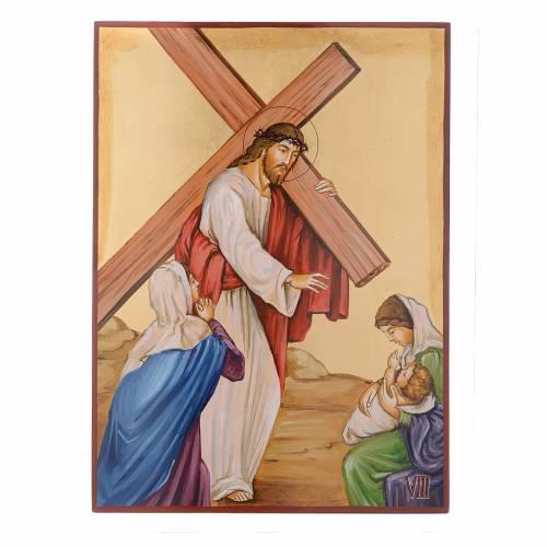 Via Crucis 15 Stazioni icone dipinte a mano 44x32 cm Romania s8