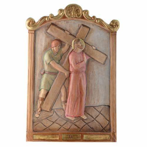 Via Crucis 15 Stazioni in rilievo legno colorato s2