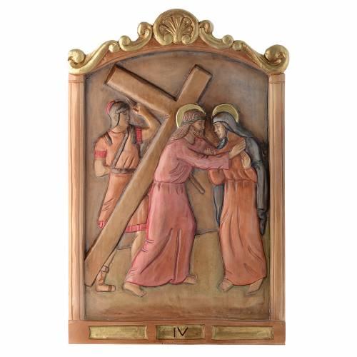 Via Crucis 15 Stazioni in rilievo legno colorato s4