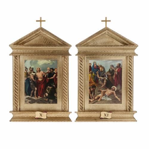 Via Crucis legno tortiglioni a punta XV stazioni s11