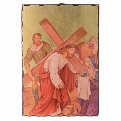 Via Crucis quadretti serigrafati 30x20 cm legno s6