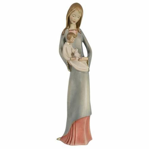 Vierge à l'enfant et colombe bois peint Valgardena s1