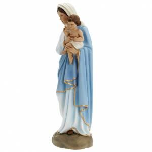 Vierge à l'enfant marbre reconstitué 60cm peinte s6