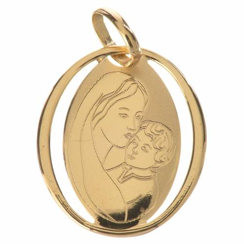 Vigin Mary and baby jesus oval pendant in 18k gold 0,73 grams 1