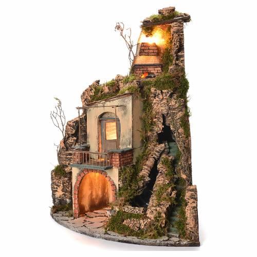 Village crèche napolitaine style 1700 angle chute d'eau 65x44x40 cm s2