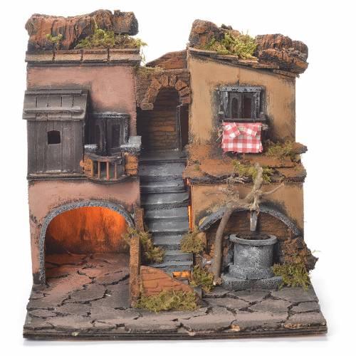 Village crèche napolitaine style 1700 avec fontaine 30x30x30 cm s1